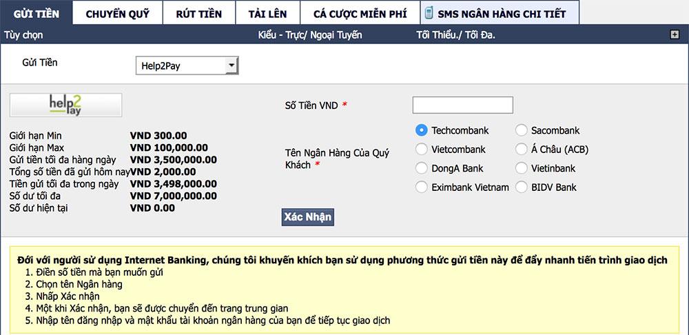 Huong dan gui tien M88 bang phuong phap HELP2PAY